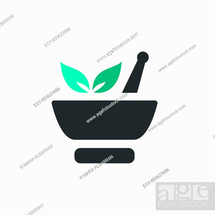 Stock Vector: Mortar with leaves. Flat color icon with beige shade. Pharmacy vector illustration.