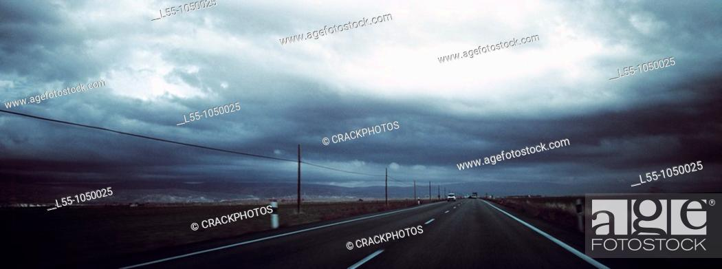 Stock Photo: Road landscape with storm clouds.