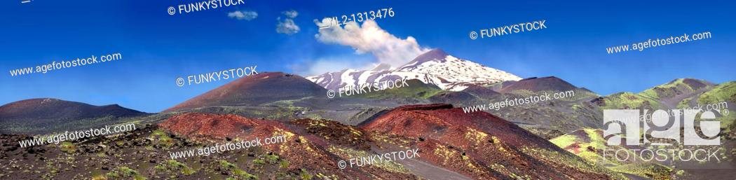 Stock Photo: Volcanic slopes of Mount Etna Sicily.