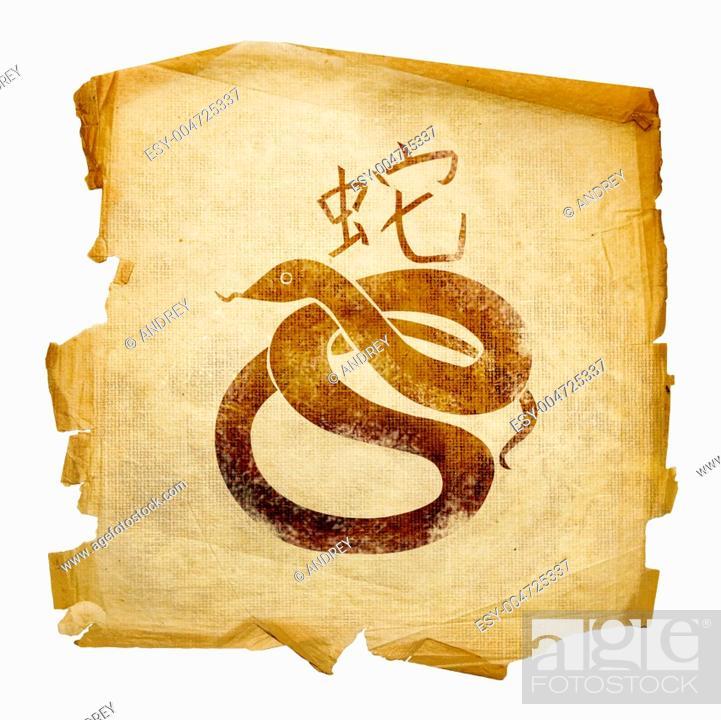 Stock Photo: Snake Zodiac icon, isolated on white background.