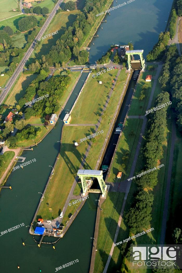 Stock Photo: Wesel-Datteln Canal lock, Germany, North Rhine-Westphalia, Ruhr Area, Datteln.
