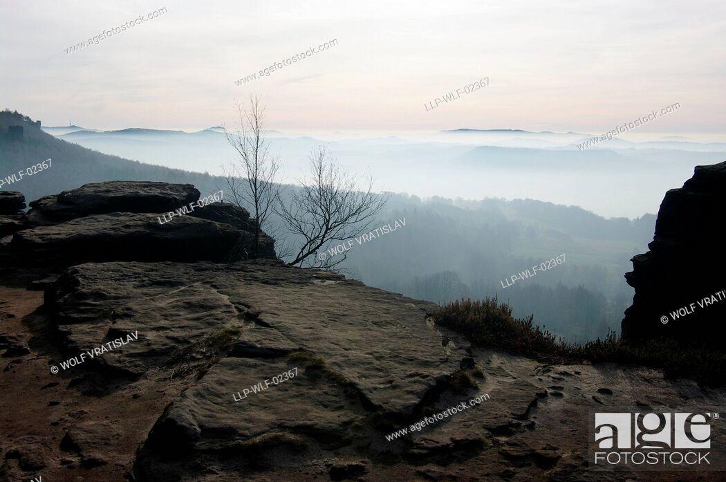 Stock Photo: Tyssaer Wände Rocks, the Northern Bohemia, Czech Republic.