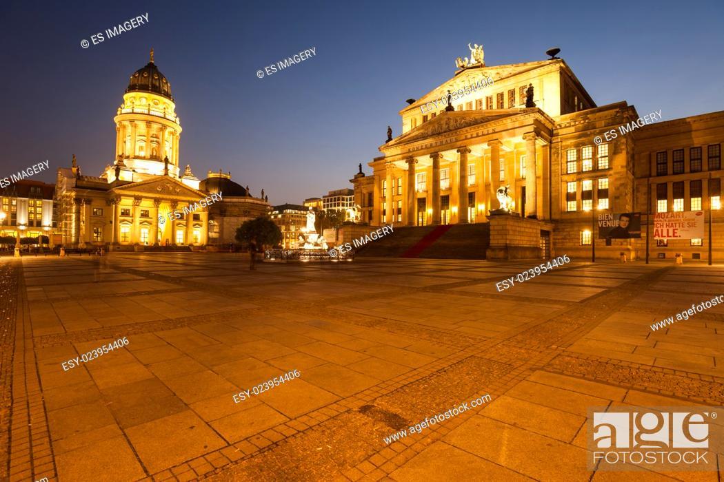 Stock Photo: Berlin's Gendarmenmarkt with Konzerthaus and German Church.