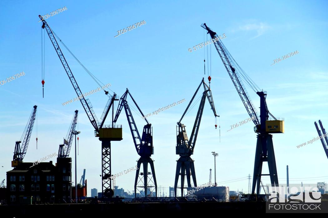 Stock Photo: View over the Port of Hamburg, Germany.