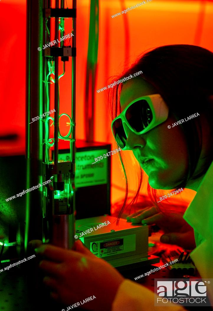 Stock Photo: Research to studying the laws of magnetism, optics, and electronics at the scale of atoms and molecules. Low-temperature Scanning-Probe Microscopy to study the.