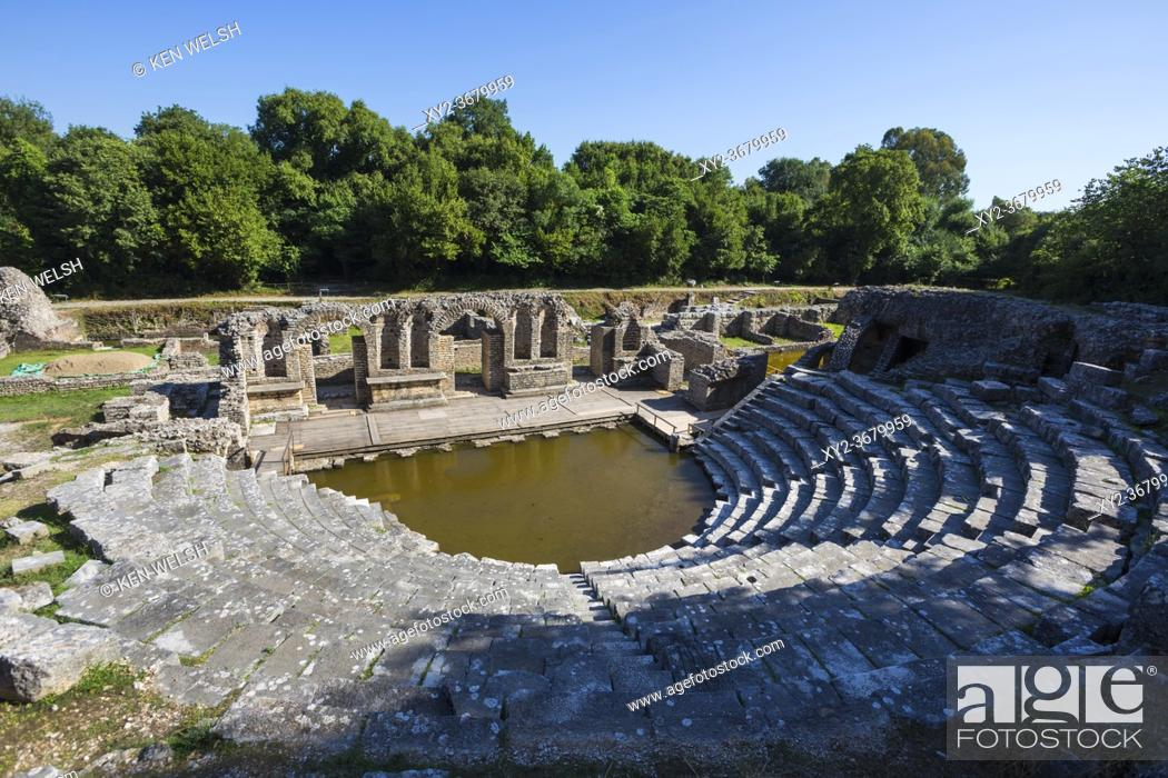 Stock Photo: Albania. Butrint or Buthrotum archeological site; a UNESCO World Heritage Site. The theatre. A rising water table has flooded the orchestra.