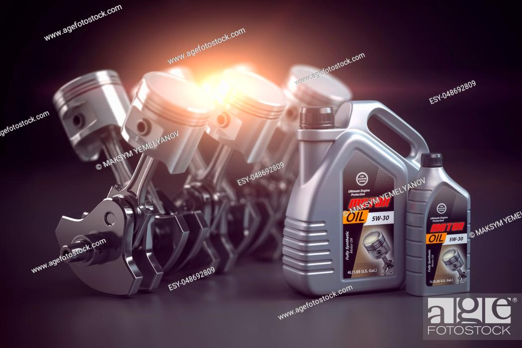 Imagen: Engine, crankshaft and pistons with motor oil canister. Auto service concept. 3d illustration.