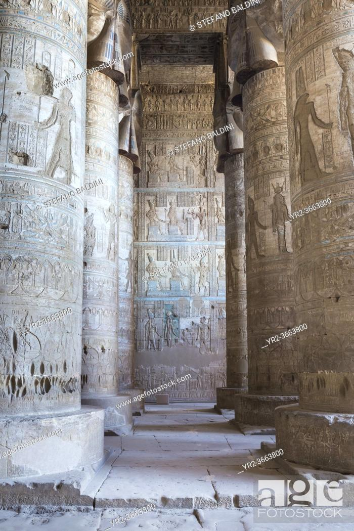 Imagen: Outer hypostyle hall, temple of Hathor, Dendara, Egypt.