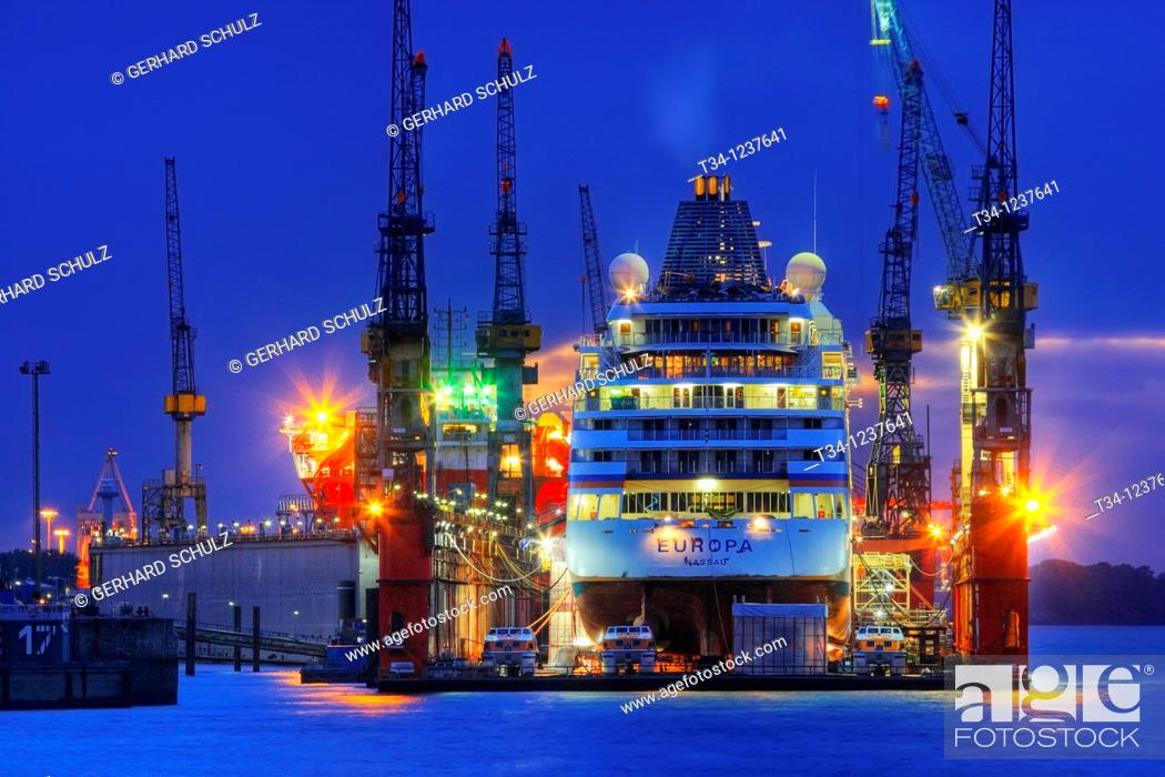 Stock Photo: Cruise ship Europa in dry dock at Blohm & Voss in Hamburg Harbour, Germany.