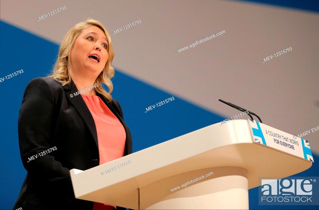 Stock Photo: Karen Bradley MP Secretary Of State For Culture, Media & Sport Conservative Party Conference 2016 The ICC Birmingham , Birmingham , England 03 October 2016.