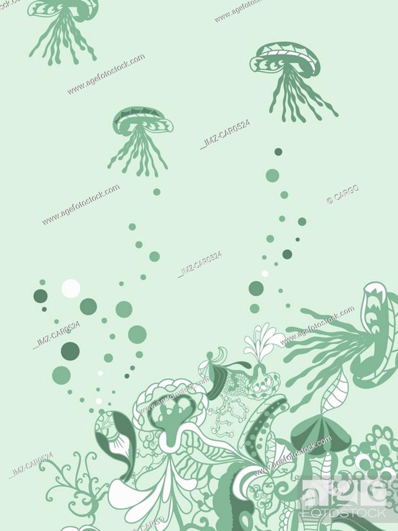 Stock Photo: A whimsical green underwater floral background with jellyfish.
