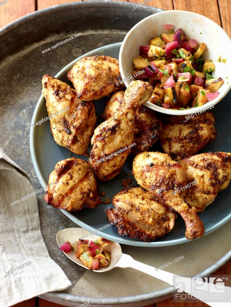 Stock Photo: Grilled Moroccan chicken.