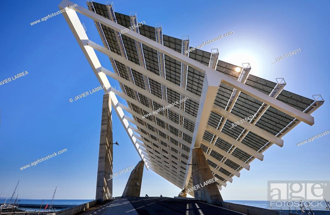Stock Photo: Photovoltaic pergola, by Elias Torres & José Antonio Martínez Lapeña, Forum, Barcelona, Catalunya, Spain, Europe.