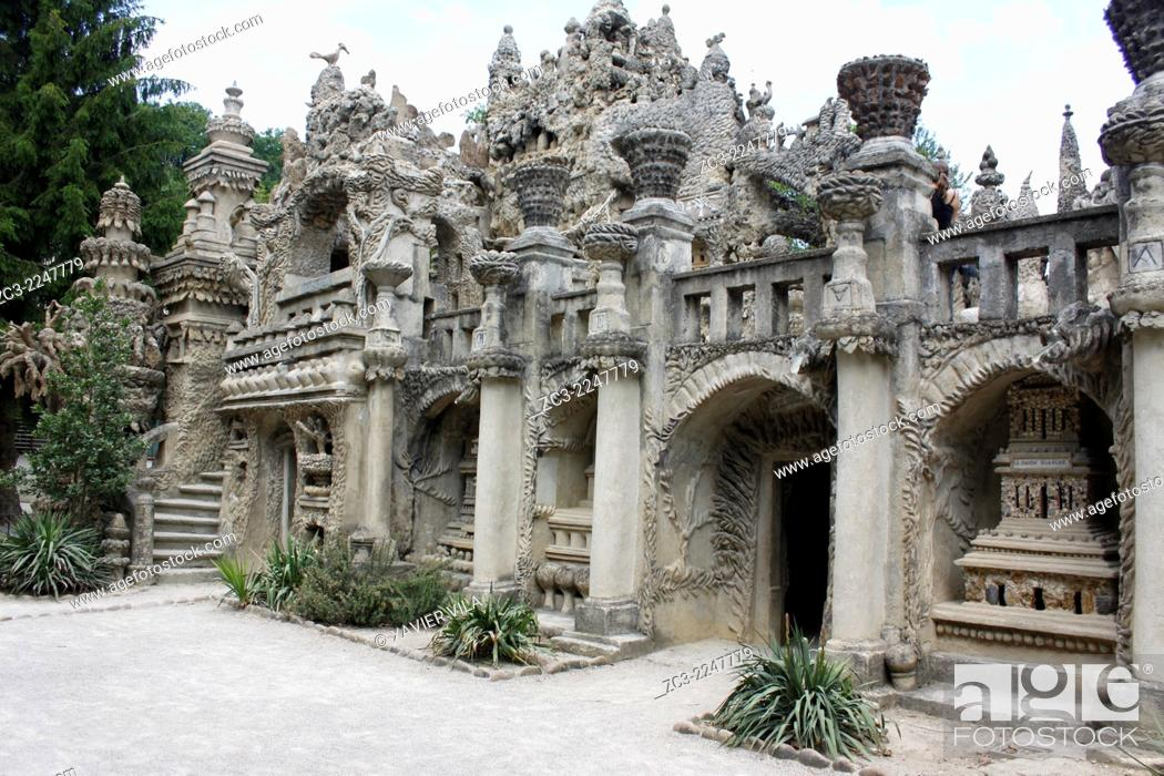 Stock Photo: From 1879 to 1912, French postman Ferdinand Cheval built his Ideal Palace. Cheval built the palace with stones he had collected during his daily mail route.