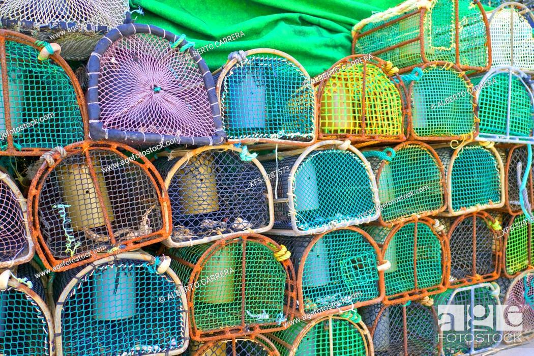 Stock Photo: Seafood Pots, Artisanal Fisheries, Port of O Barqueiro, O Barqueiro, Fishing Village, Mañón, A Coruña, Galicia, Spain, Europe.