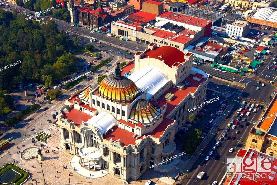 Stock Photo: Aerial view of a palace, Palacio De Bellas Artes, Mexico City, Mexico.