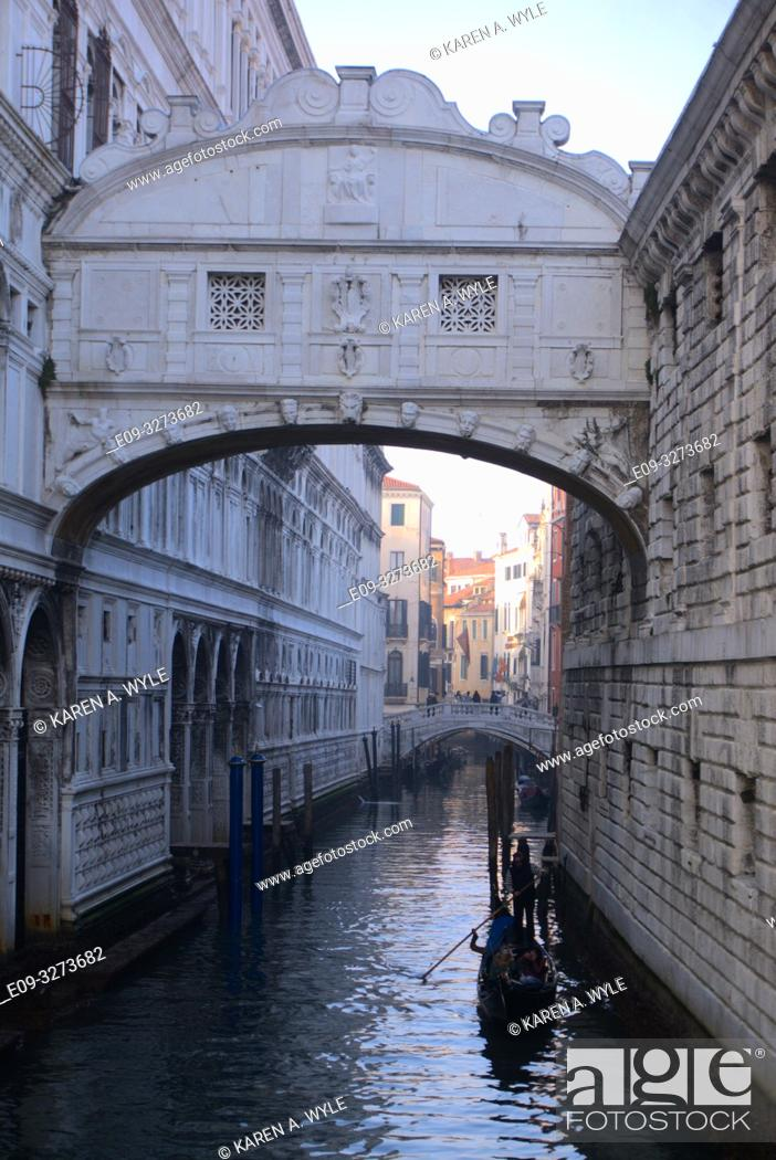 Stock Photo: Bridge of Sighs over Rio di Palazzo, another bridge in background, gondola on canal, Venice, Italy.
