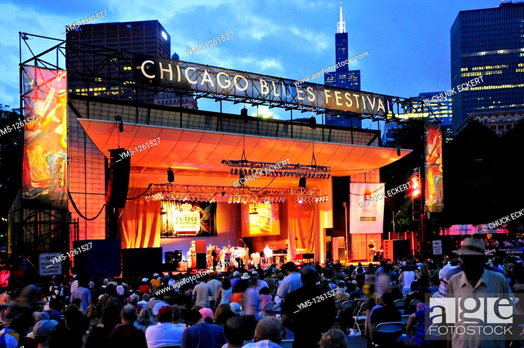 Stock Photo: Twilight descending on the Petrillo Band Stage in Grant Park during the annual Chicago Blues Festival, Chicago, Illinois, USA.