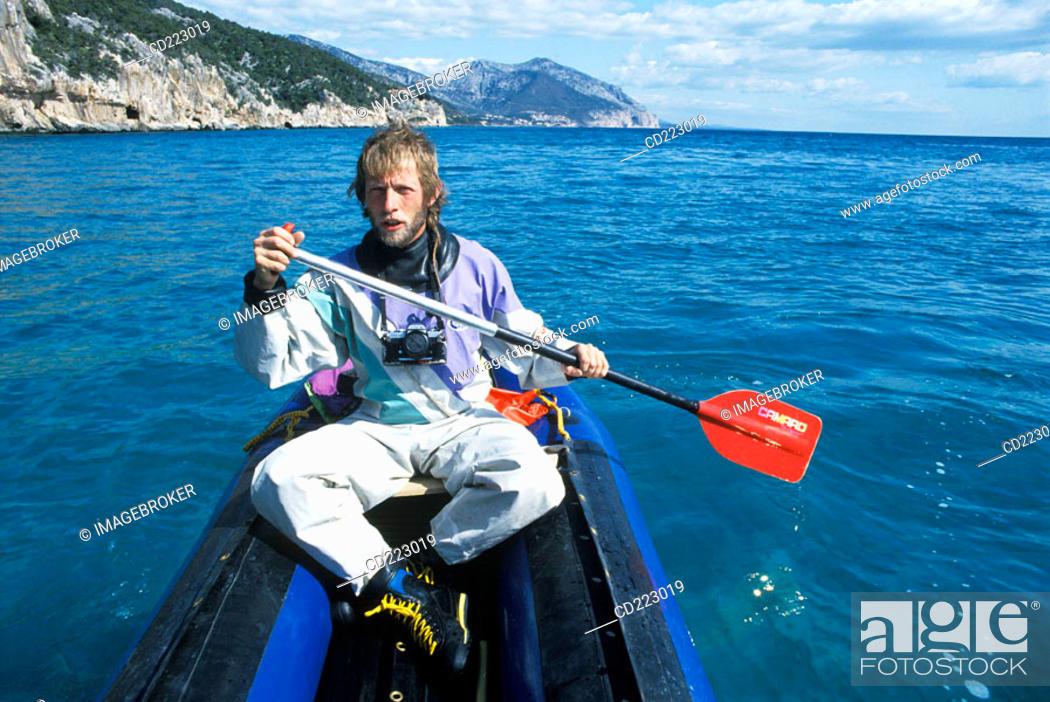 Stock Photo: Cala Gonone, Kajak and cave tours, Sardinia, Italy.