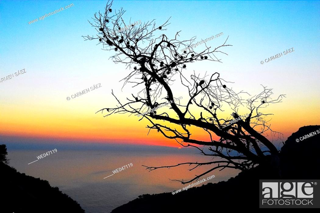 Stock Photo: Sunset at Costa del Sol. Andalusia, Spain.
