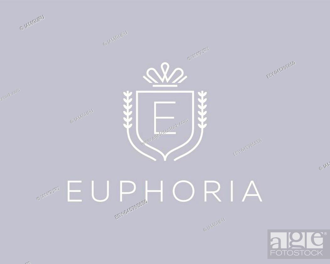 Stock Vector: Elegant monogram letter E logotype. Premium crest logo design. Shield, royal crown symbol. Print, t-shirt design shape.