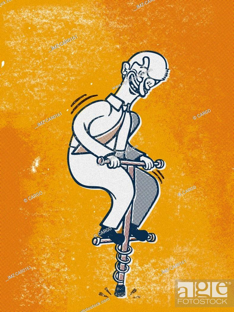 Stock Photo: Drawing of a businessman on a pogo stick.