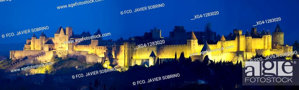 Stock Photo: La Cité, Carcassonne medieval fortified town  Aude, Languedoc-Roussillon, France.