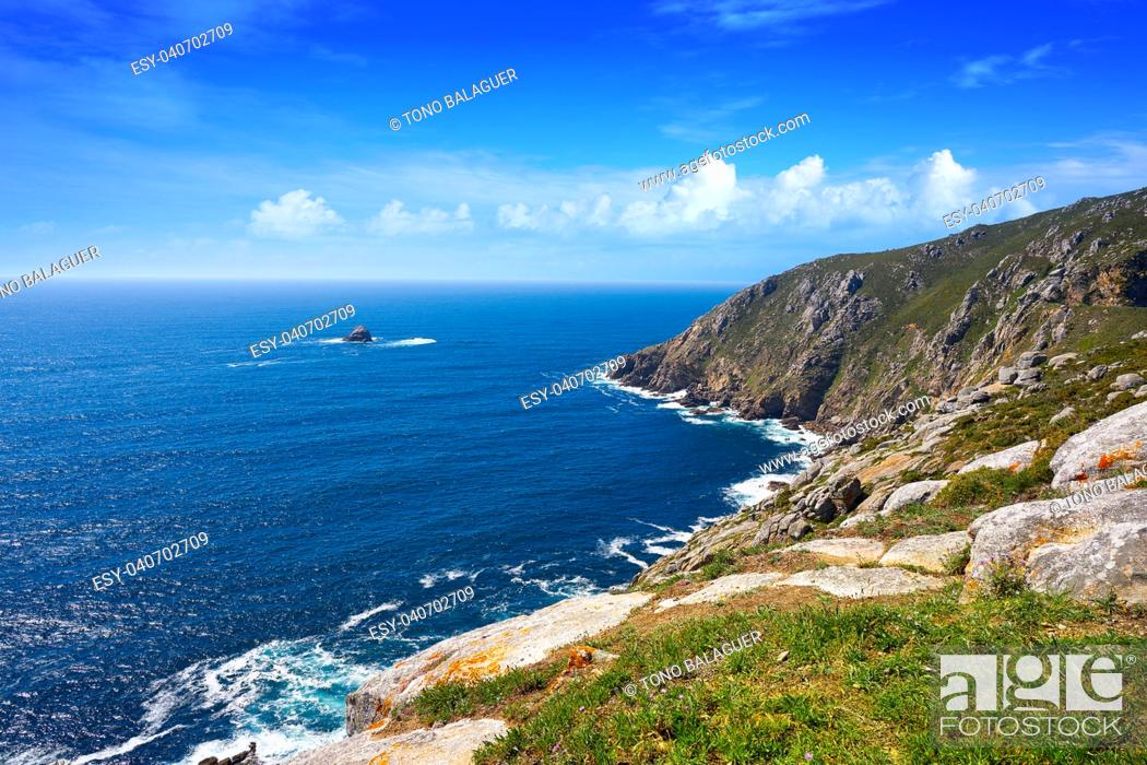 Stock Photo: Aerial view of Finisterre end of Saint James Way in Galicia Spain.