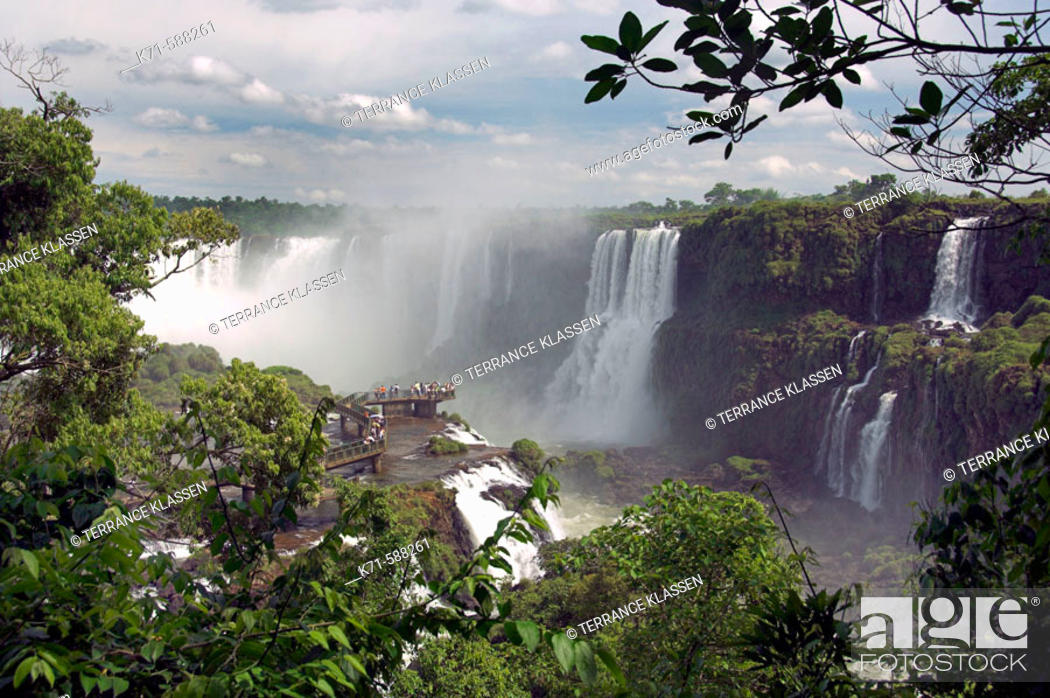 Stock Photo: The Iguassu Falls  Devils Throat and the Iguassu river gorge as viewed from the Brazilian side.