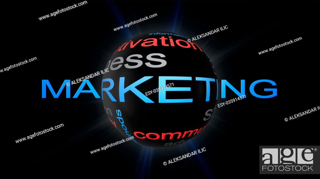 Stock Photo: Marketing Business Strategy Word Cloud Text Concept With Sphere 3D Rendering.