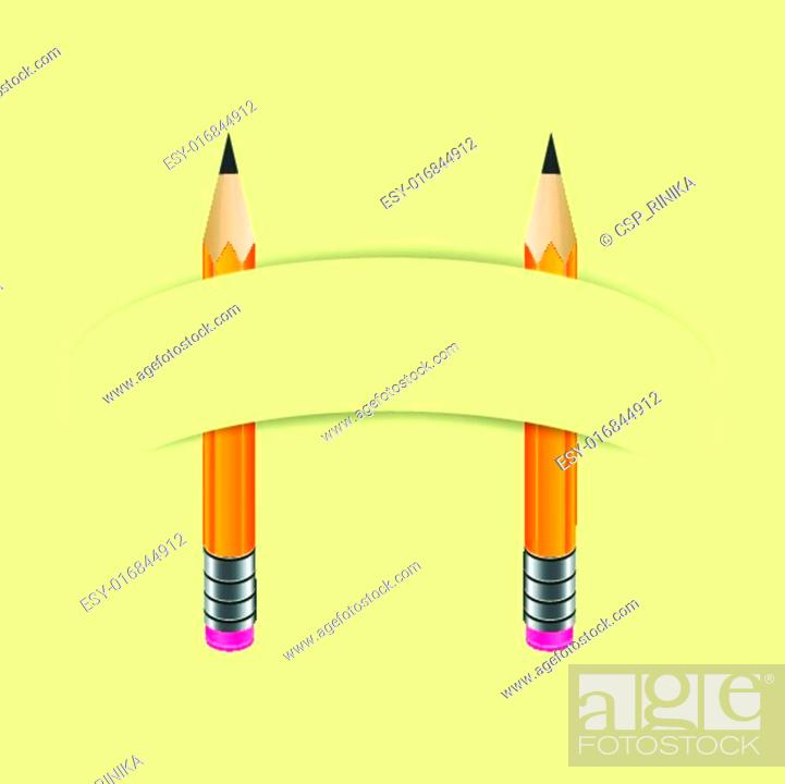 Stock Vector: Two graphite pencils and paper banner.