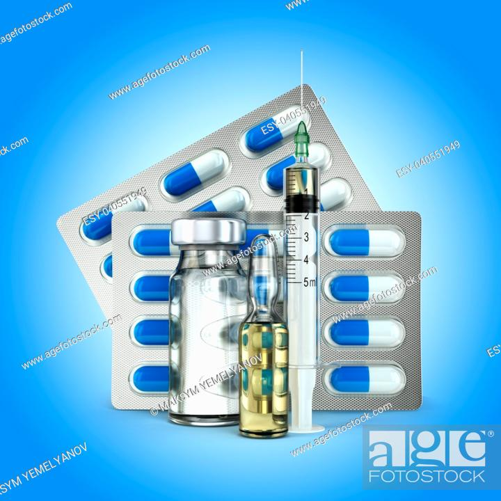 Stock Photo: Concept of madicine. Pills, vial, ampoule and syringe on blue background. 3d.