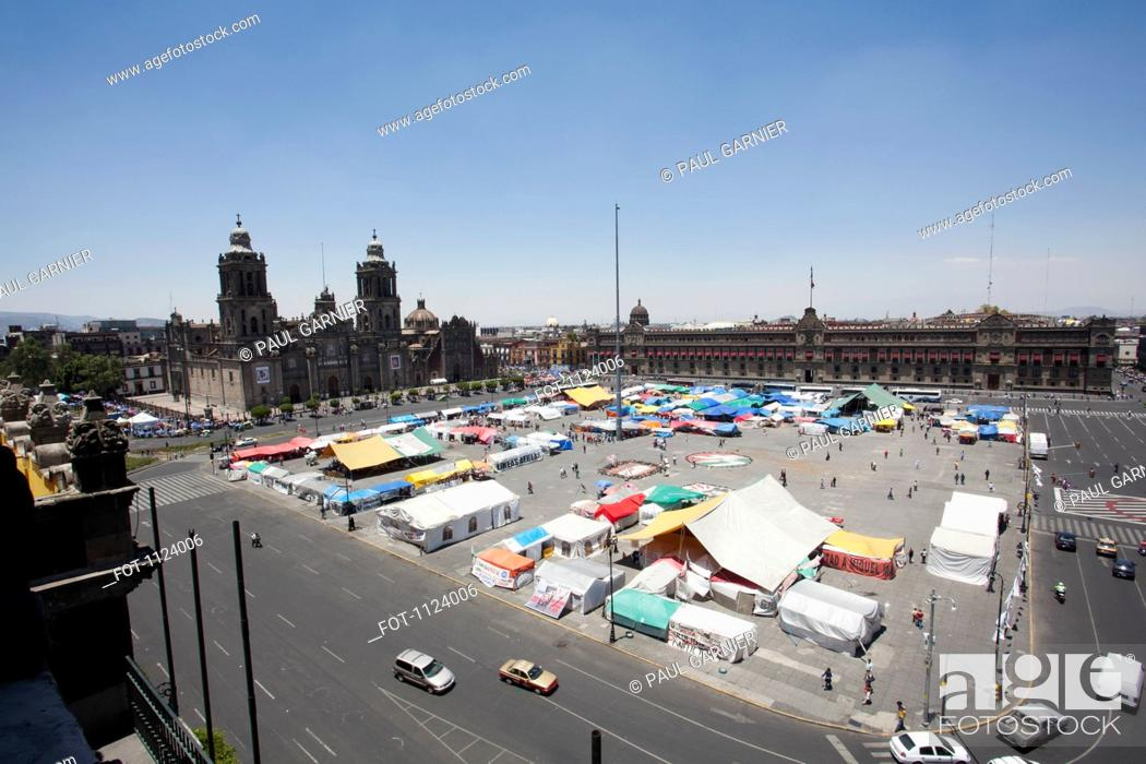 Stock Photo: A market at Zocalo, Mexico City, Mexico.