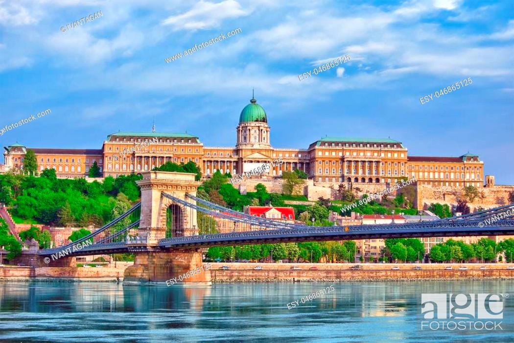 Stock Photo: Budapest Royal Castle and Szechenyi Chain Bridge at day time from Danube river, Hungary.