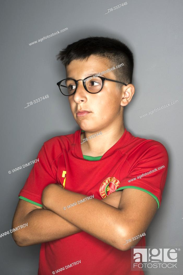 Stock Photo: 11 years old Portuguese boy in spectacles.