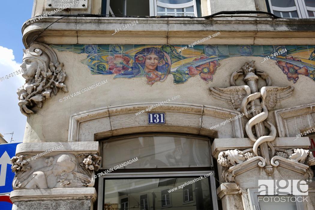 Stock Photo: Portugal, Lisbon, Casa de Fernanado Pessoa world famous writer and poet translated in 33 languages.