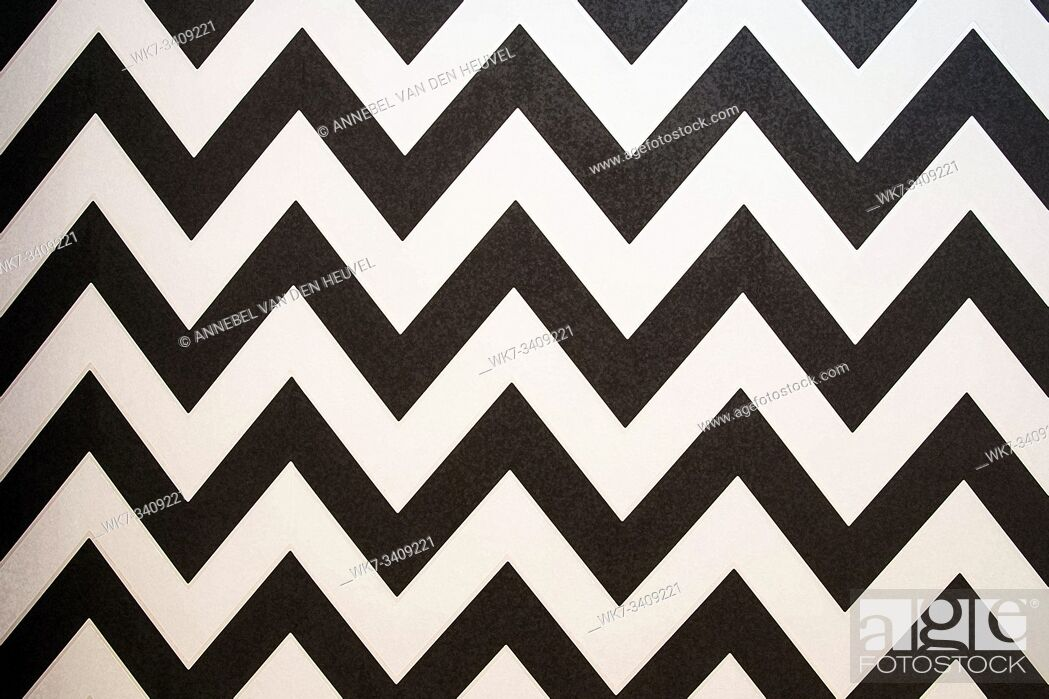 Stock Photo: Zigzag Striped seamless pattern with horizontal line. Black and white fashion graphics design. Strict graphic background. Retro style.