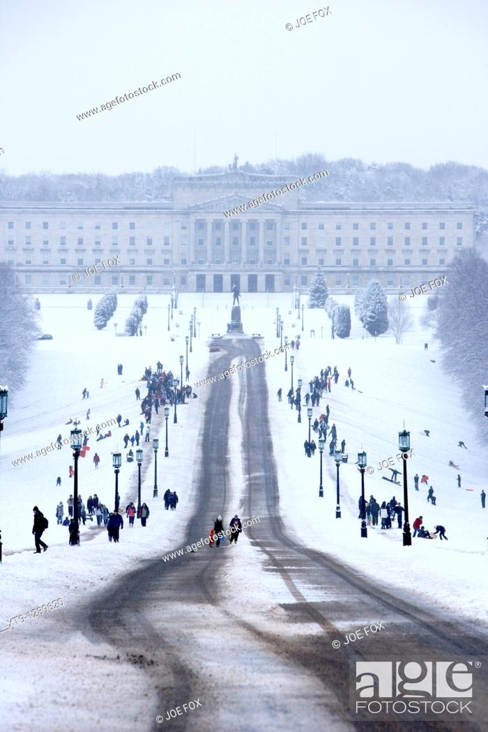 Stock Photo: stormont parliament buildings on a cold snowy winters day Belfast Northern Ireland.