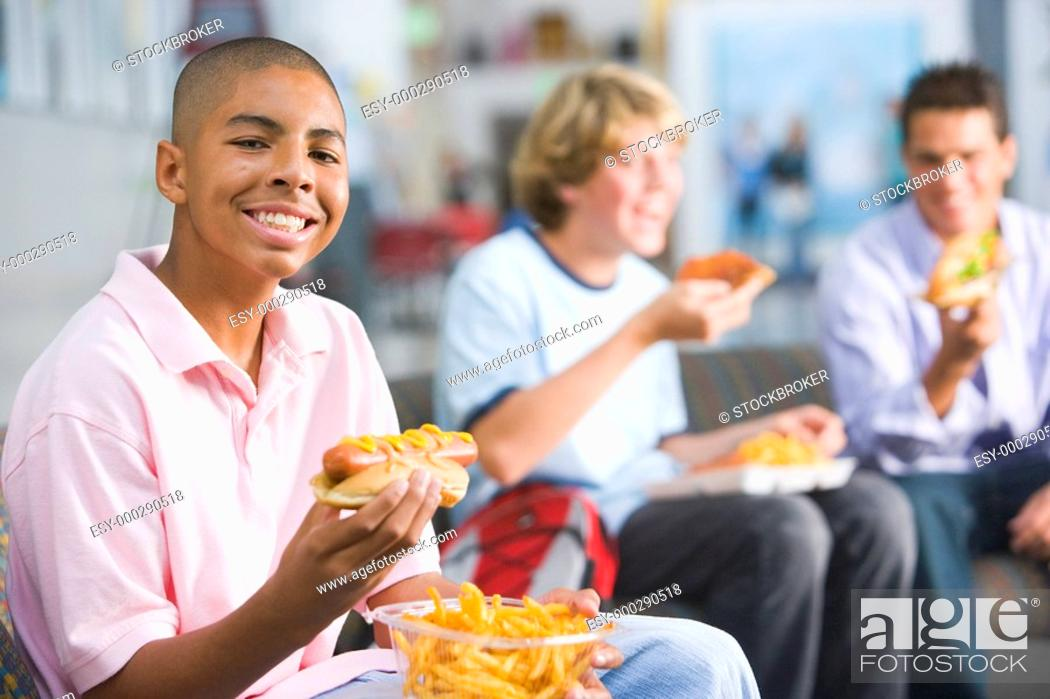 Stock Photo: Students having lunch.