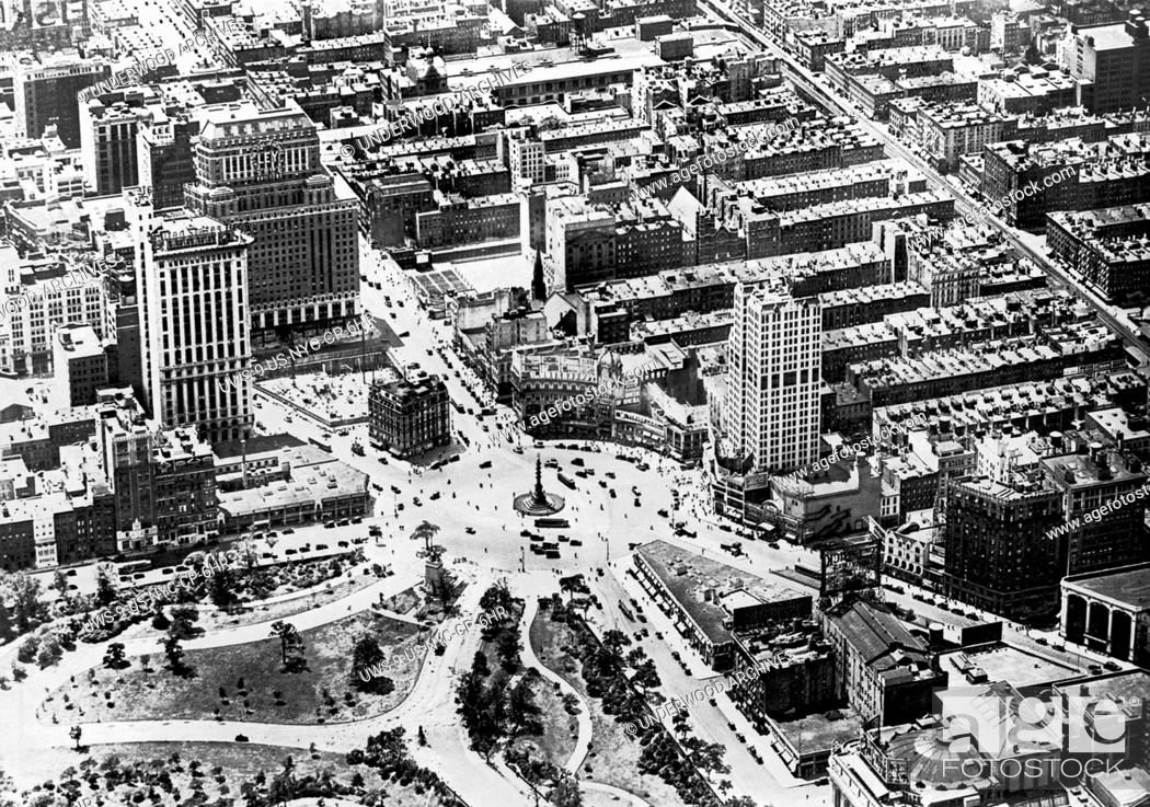 Stock Photo: New York, New York: January 7, 1924 A view of Columbus Circle taken from a Fairchild-Fokker photographic airplane at work on the mapping of greater New York.