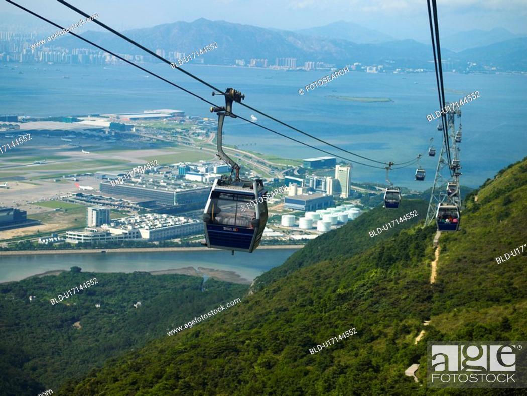Stock Photo: China, Hong Kong, Lantau Island, cable cars.