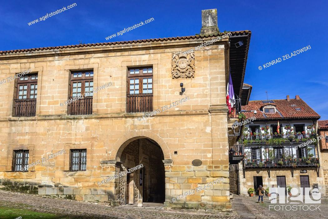Stock Photo: Side view of Town Hall on Plaza Mayor - main square in Santillana del Mar historic town located in Cantabria autonomous community in Spain.