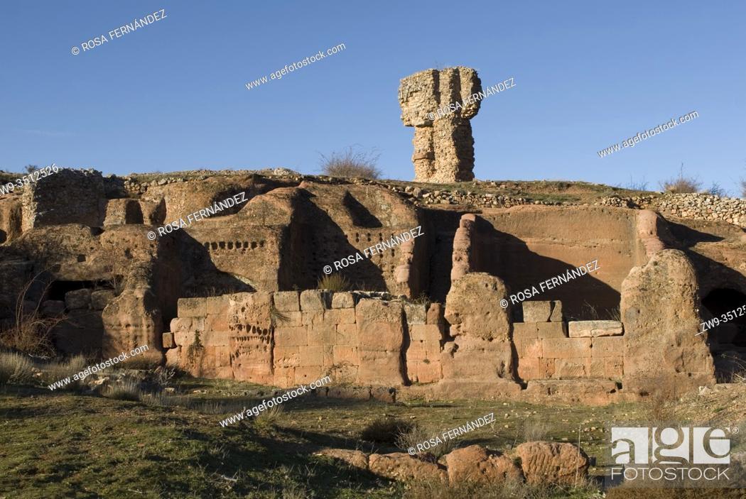 Stock Photo: Roman city of Tiermes, Centuries I to III A.C., cave houses carved in sandstone, Pela Mountains, Montejo de Tiermes, province of Soria, Castilla y Leon, Spain.