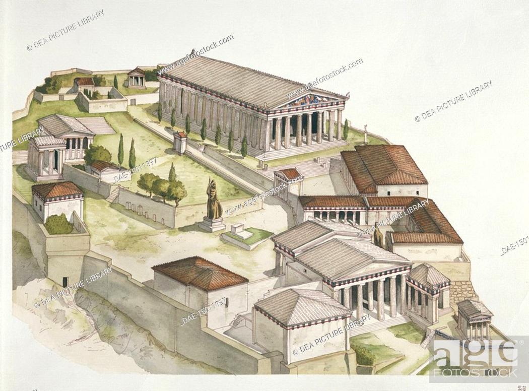 Stock Photo: Greek civilization - Ancient Athens - Reconstruction of the Acropolis. Color illustration.