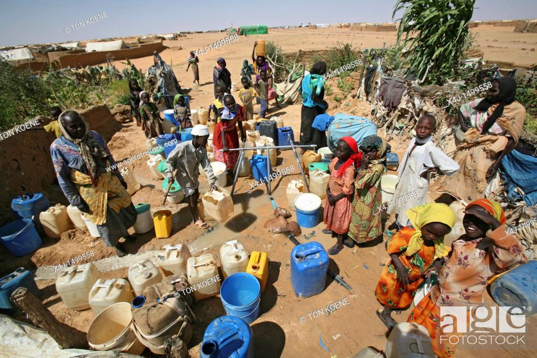 Stock Photo: water well in a sudanese refugee camp in Chad.
