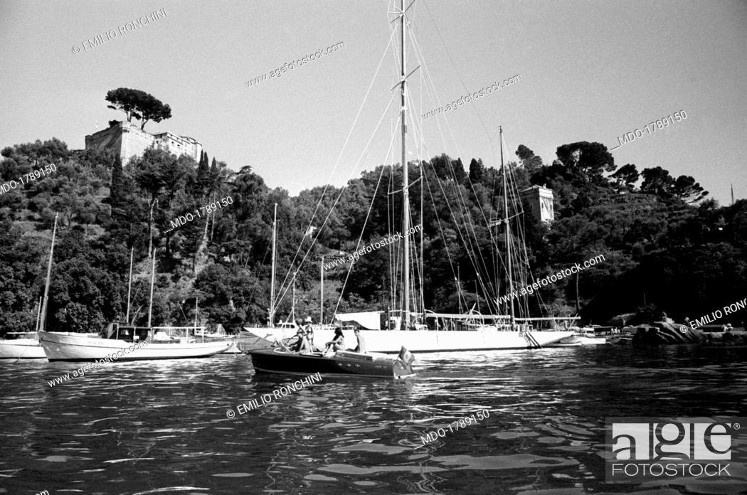 Stock Photo: Docked sailing boats and motorboats. Portofino, July 1960.