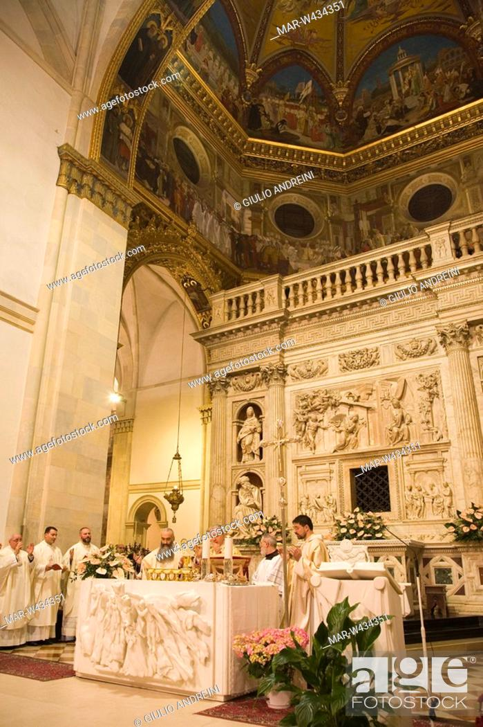 Stock Photo: europe, italy, marche, loreto, sanctuary of the holy house, holy mess, celebrations of the holy easter.