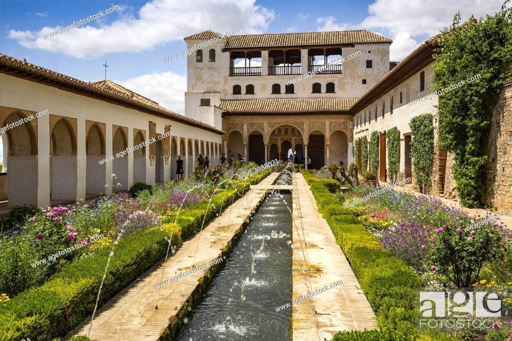 Stock Photo: Patio de la Acequia, Generalife Palace gardens. Alhambra, UNESCO World Heritage Site. Granada City. Andalusia, Southern Spain Europe.