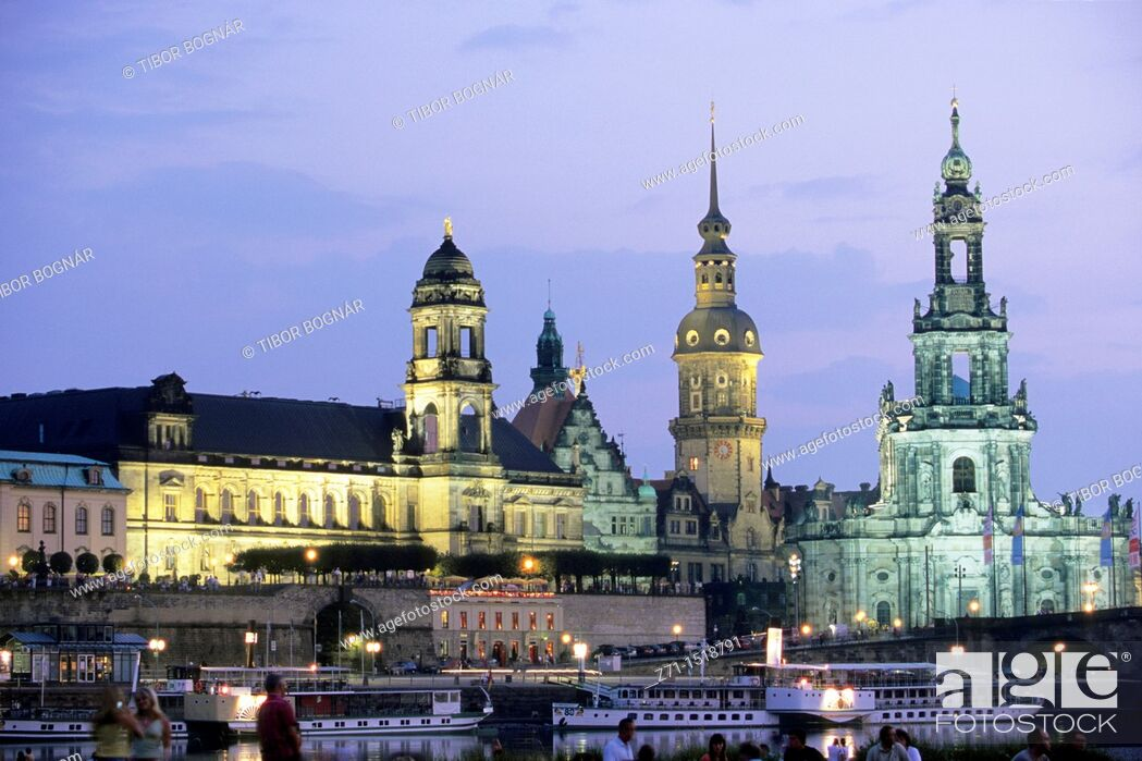 Stock Photo: Cathedral & Castle, Elbe River, Dresden, Saxony, Germany.