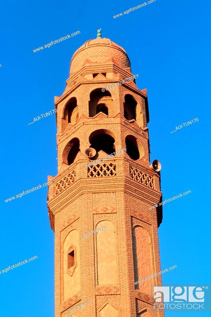 Stock Photo: Tunisia - Chott el Jerid Region - Tozeur - Minaret of el-Kadiria mosque.